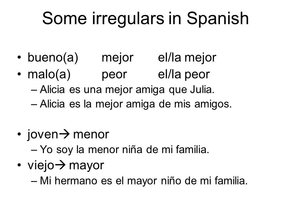 Some irregulars in Spanish bueno(a)mejorel/la mejor malo(a)peorel/la peor –Alicia es una mejor amiga que Julia. –Alicia es la mejor amiga de mis amigo