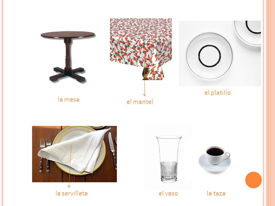 la mesa el mantel la servilletael vaso la taza el platillo