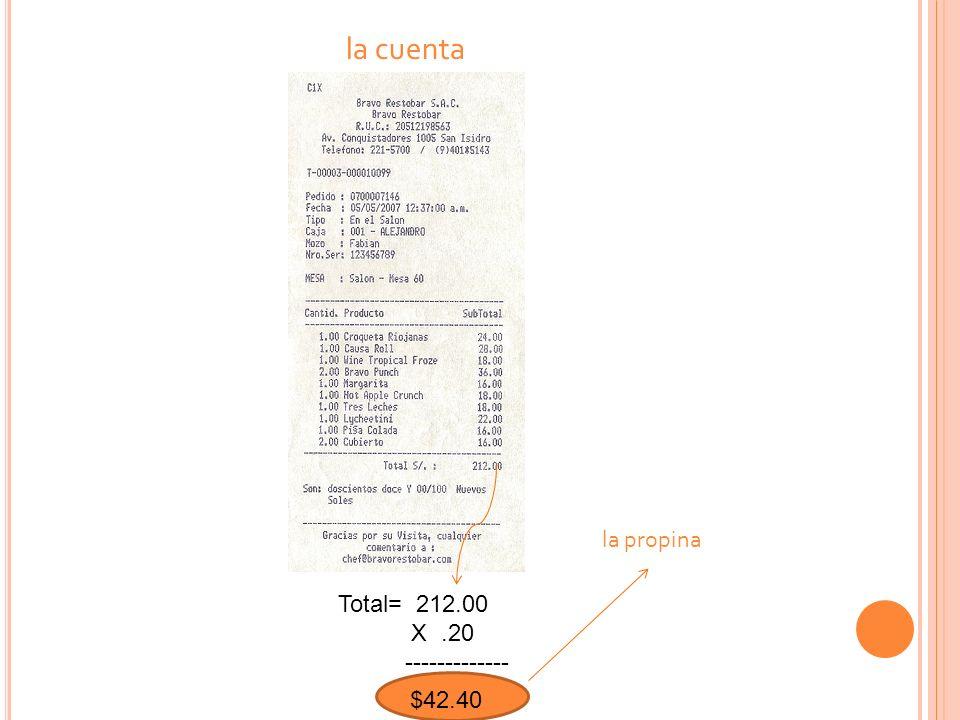 la cuenta Total= 212.00 X.20 ------------- $ 42.40 la propina