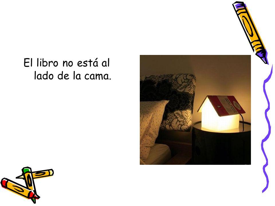 El libro no está al lado de la cama.
