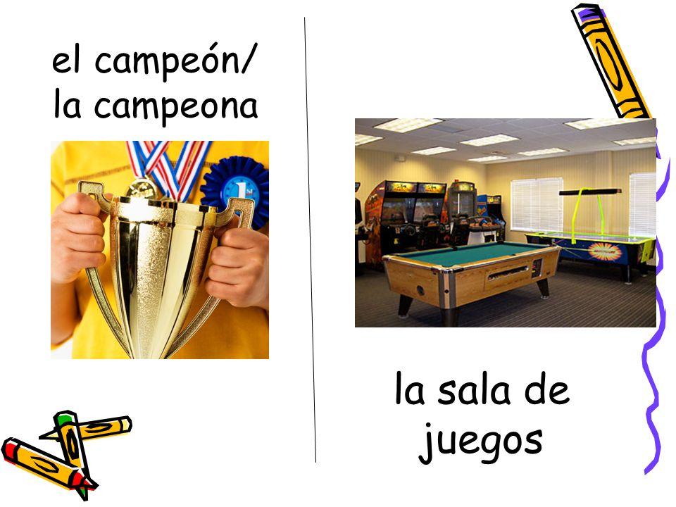 el campeón/ la campeona la sala de juegos