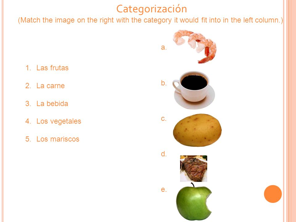 Categorización (Match the image on the right with the category it would fit into in the left column.) 1.Las frutas 2.La carne 3.La bebida 4.Los vegeta