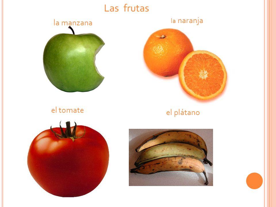 la manzana la naranja el plátano el tomate Las frutas