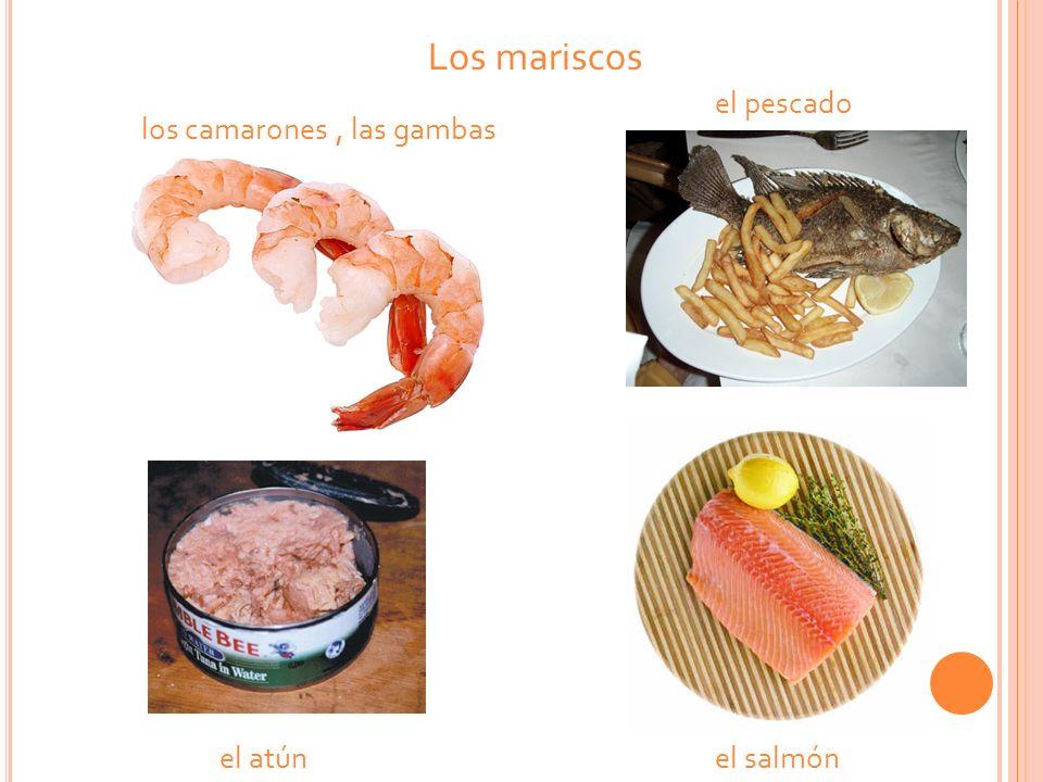 Los mariscos el atúnel salmón los camarones, las gambas el pescado