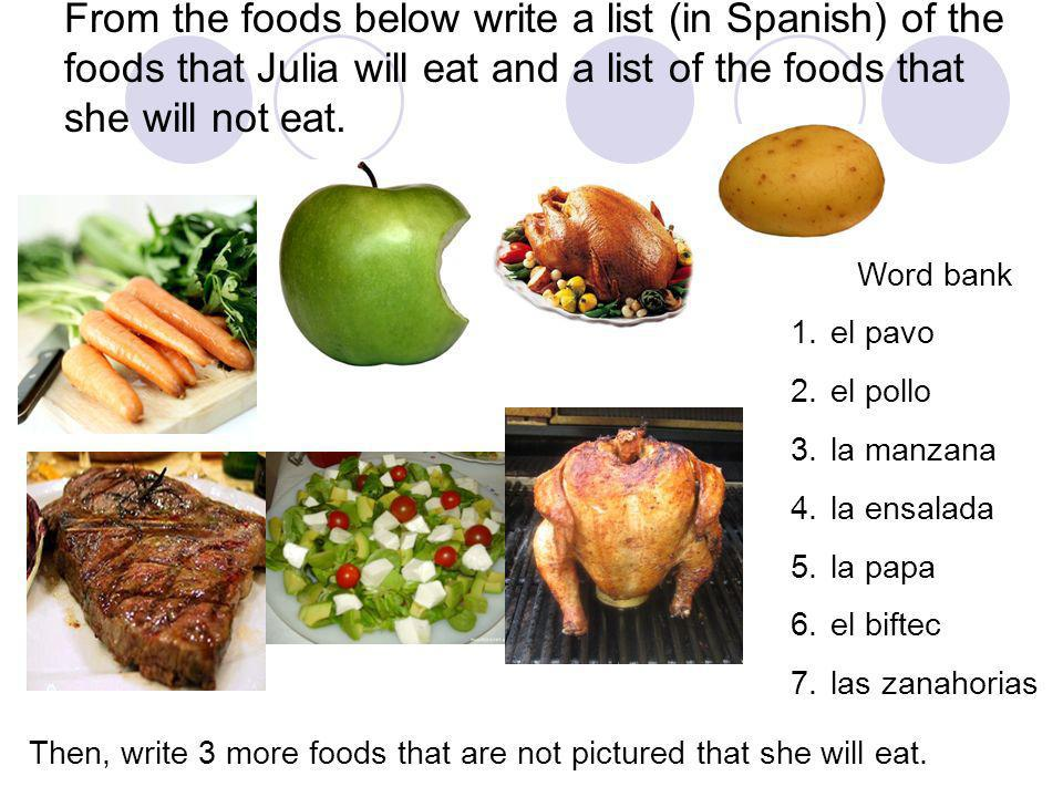 From the foods below write a list (in Spanish) of the foods that Julia will eat and a list of the foods that she will not eat. Then, write 3 more food