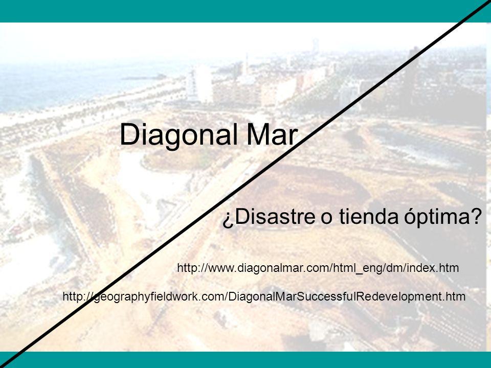 Diagonal Mar ¿Disastre o tienda óptima? http://geographyfieldwork.com/DiagonalMarSuccessfulRedevelopment.htm http://www.diagonalmar.com/html_eng/dm/in
