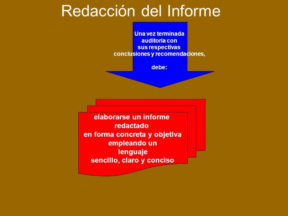 Redacción del Informe Una vez terminada auditoria con sus respectivas conclusiones y recomendaciones, debe: elaborarse un informe redactado en forma concreta y objetiva empleando un lenguaje sencillo, claro y conciso