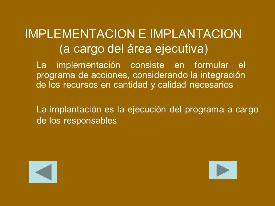 IMPLEMENTACION E IMPLANTACION (a cargo del área ejecutiva) La implementación consiste en formular el programa de acciones, considerando la integración de los recursos en cantidad y calidad necesarios La implantación es la ejecución del programa a cargo de los responsables