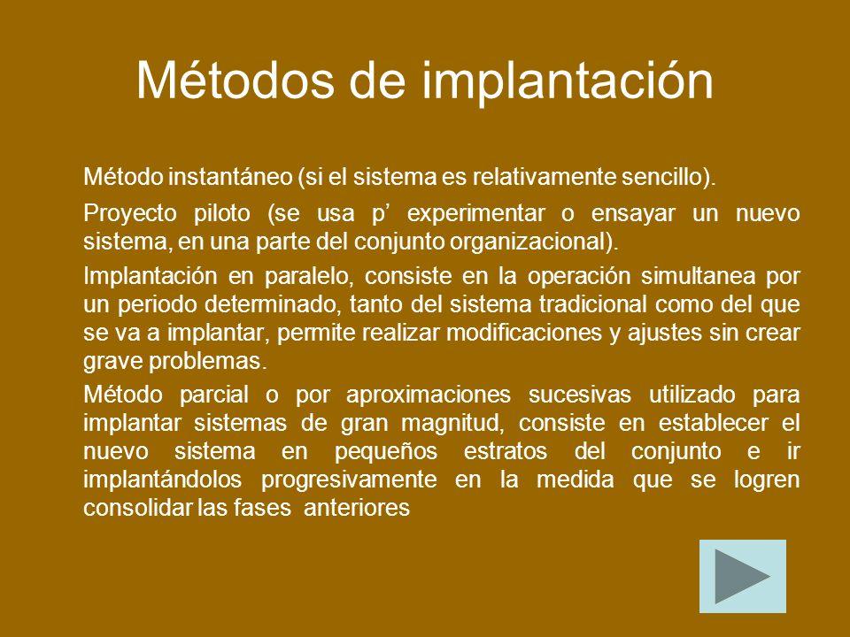 Métodos de implantación Método instantáneo (si el sistema es relativamente sencillo).