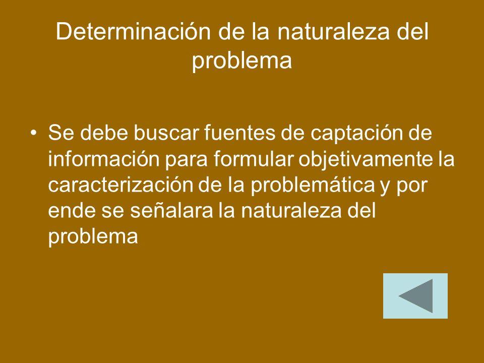Determinación de la naturaleza del problema Se debe buscar fuentes de captación de información para formular objetivamente la caracterización de la problemática y por ende se señalara la naturaleza del problema