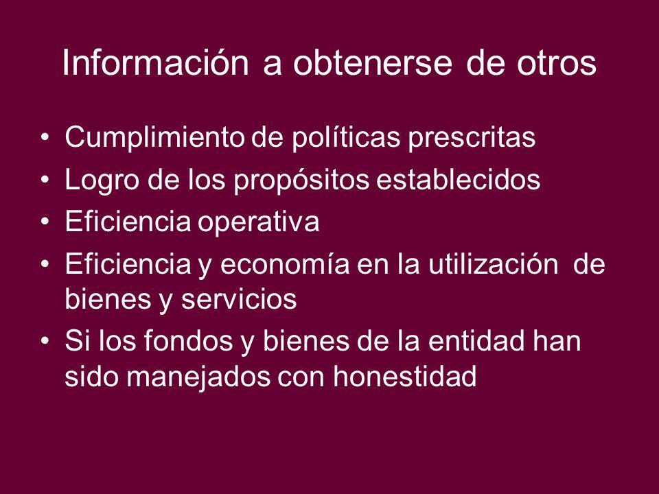 Información a obtenerse de otros Cumplimiento de políticas prescritas Logro de los propósitos establecidos Eficiencia operativa Eficiencia y economía
