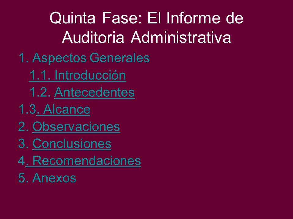 Quinta Fase: El Informe de Auditoria Administrativa 1. Aspectos Generales 1.1. Introducción 1.2. AntecedentesAntecedentes 1.3. Alcance. Alcance 2. Obs