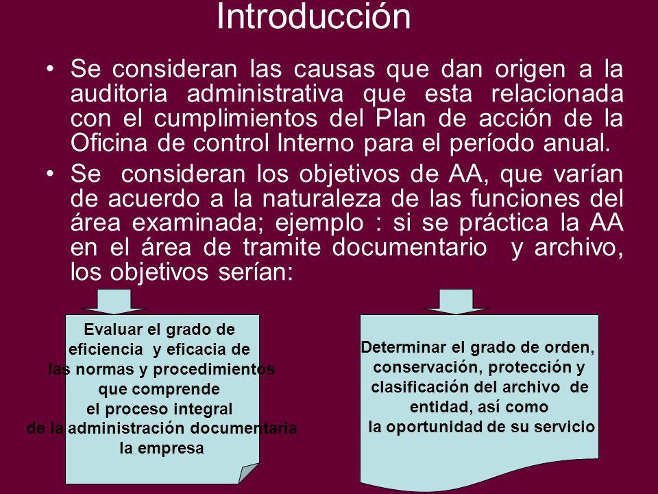 Introducción Se consideran las causas que dan origen a la auditoria administrativa que esta relacionada con el cumplimientos del Plan de acción de la