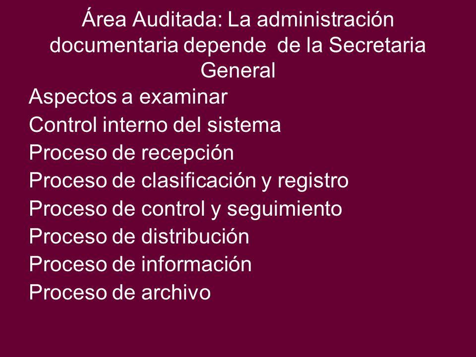 Área Auditada: La administración documentaria depende de la Secretaria General Aspectos a examinar Control interno del sistema Proceso de recepción Pr