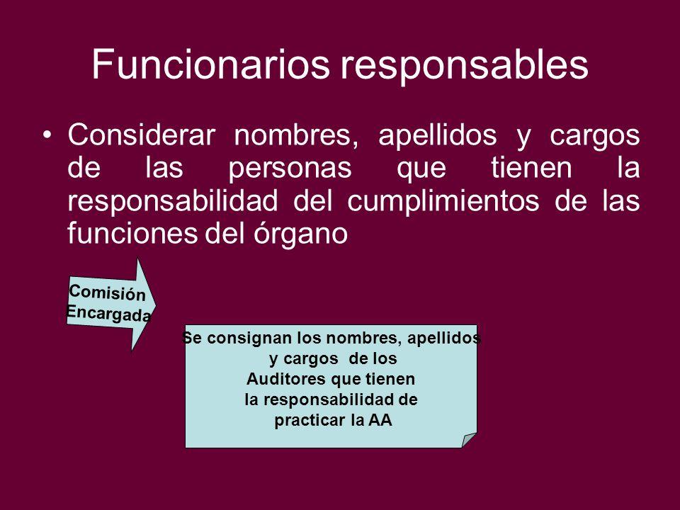 Funcionarios responsables Considerar nombres, apellidos y cargos de las personas que tienen la responsabilidad del cumplimientos de las funciones del