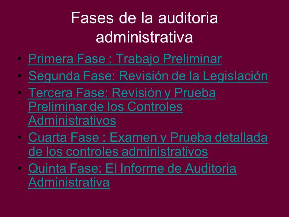 Fases de la auditoria administrativa Primera Fase : Trabajo Preliminar Segunda Fase: Revisión de la Legislación Tercera Fase: Revisión y Prueba Prelim
