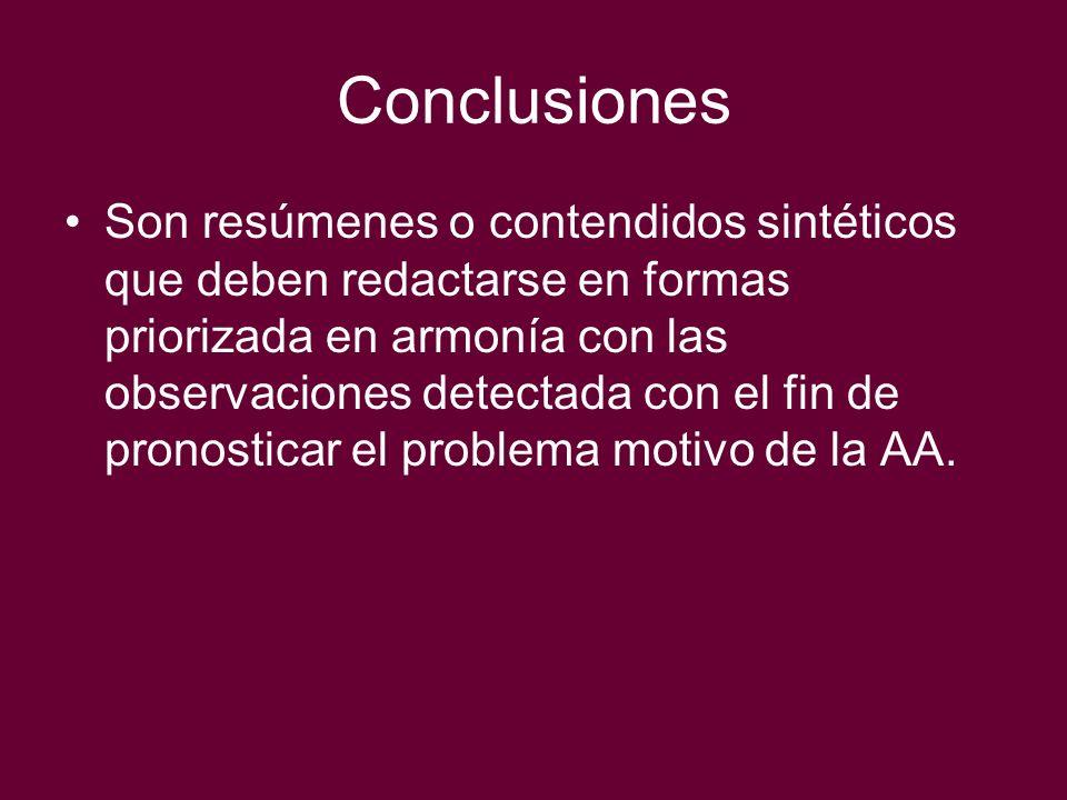 Conclusiones Son resúmenes o contendidos sintéticos que deben redactarse en formas priorizada en armonía con las observaciones detectada con el fin de