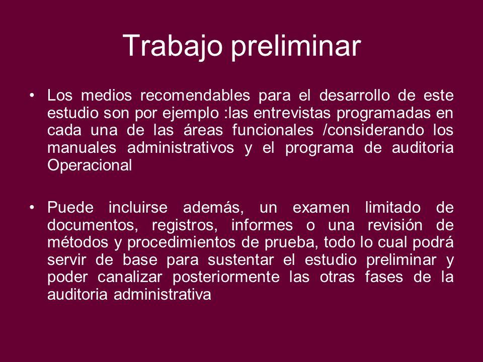Trabajo preliminar Los medios recomendables para el desarrollo de este estudio son por ejemplo :las entrevistas programadas en cada una de las áreas f