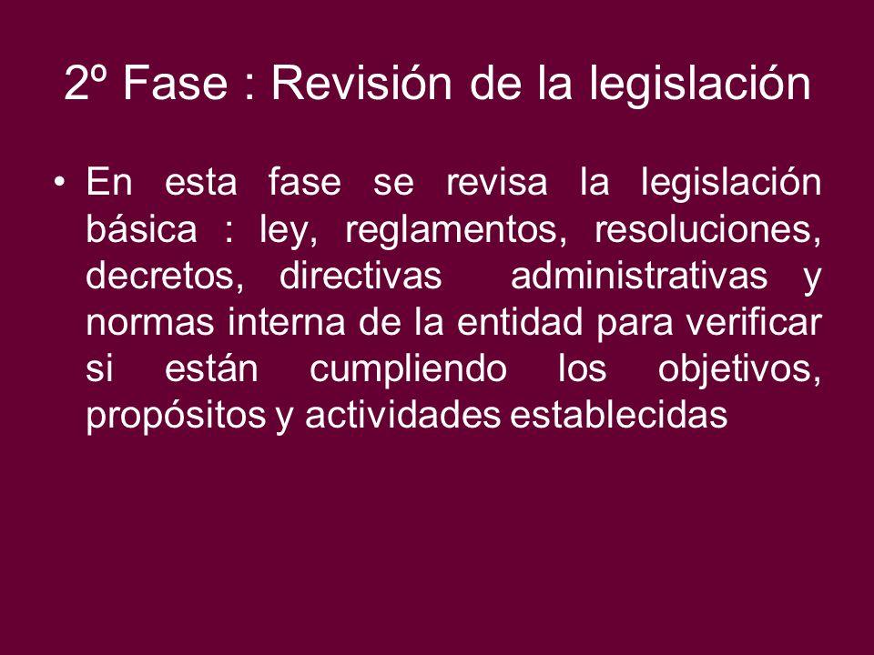 2º Fase : Revisión de la legislación En esta fase se revisa la legislación básica : ley, reglamentos, resoluciones, decretos, directivas administrativ