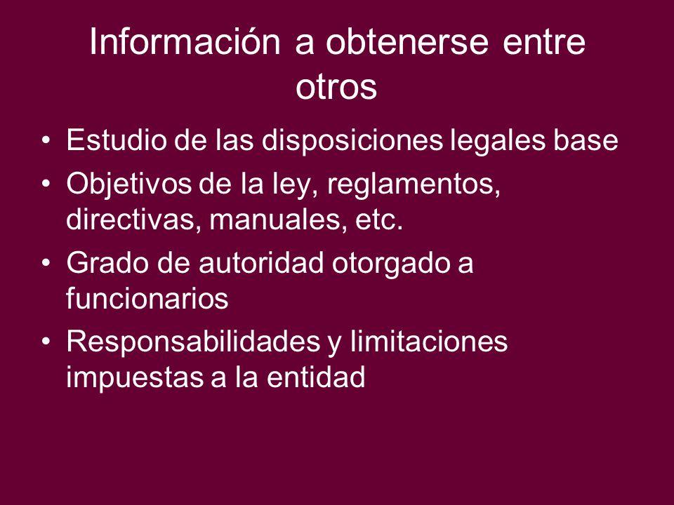 Información a obtenerse entre otros Estudio de las disposiciones legales base Objetivos de la ley, reglamentos, directivas, manuales, etc. Grado de au
