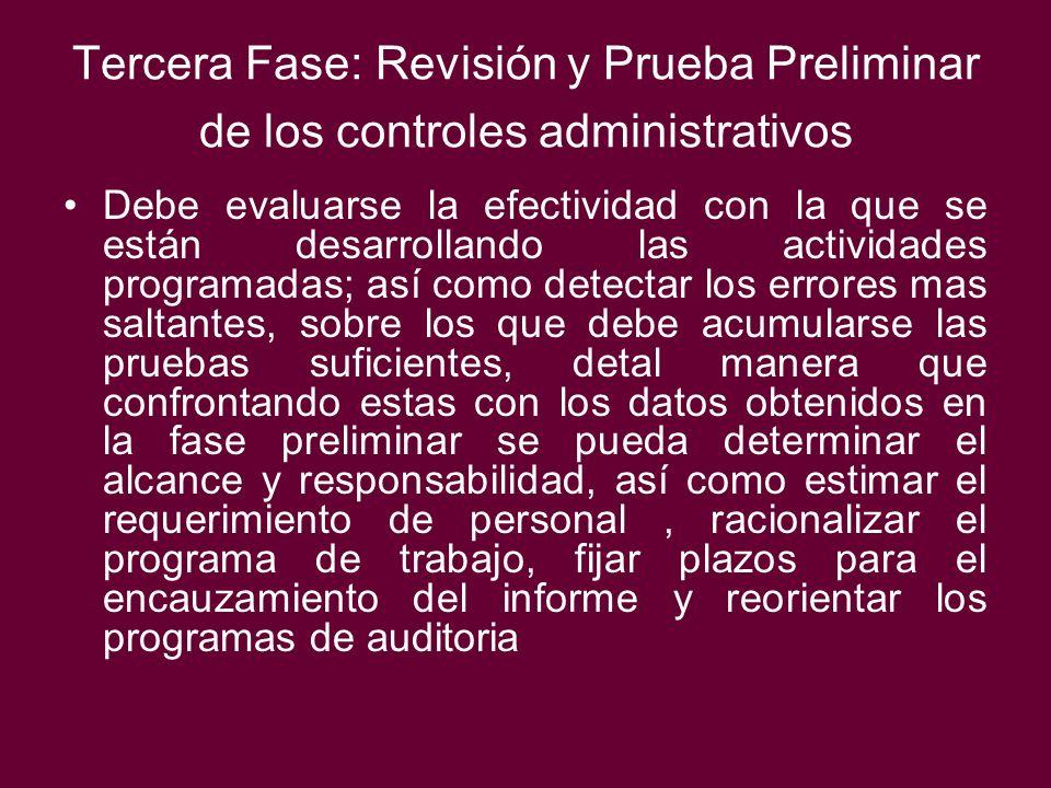 Tercera Fase: Revisión y Prueba Preliminar de los controles administrativos Debe evaluarse la efectividad con la que se están desarrollando las activi