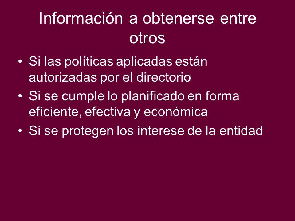 Información a obtenerse entre otros Si las políticas aplicadas están autorizadas por el directorio Si se cumple lo planificado en forma eficiente, efe