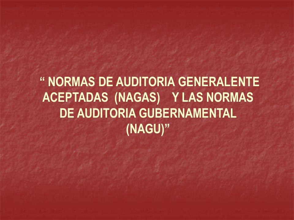 NORMAS DE AUDITORÍA GENERALMENTE ACEPTADAS (NAGAS) NORMAS INTERNACIONALES DE AUDITORÍA (NIA) LA CONTRALORÍA GENERAL DE LA REPÚBLICA NORMAS DE AUDITORÍA GUBERNAMENTAL (NAGU) Adaptándolas en lo aplicable a la Ley del Sistema Nacional de Control y al ámbito comprendido por ésta Estableció : En base a las: MANUAL DE AUDITORÍA GUBERNAMENTAL (MAGU) Con la cual estableció una Guía de planificación de la Auditoria Gubernamental así como para la elaboración de los informes