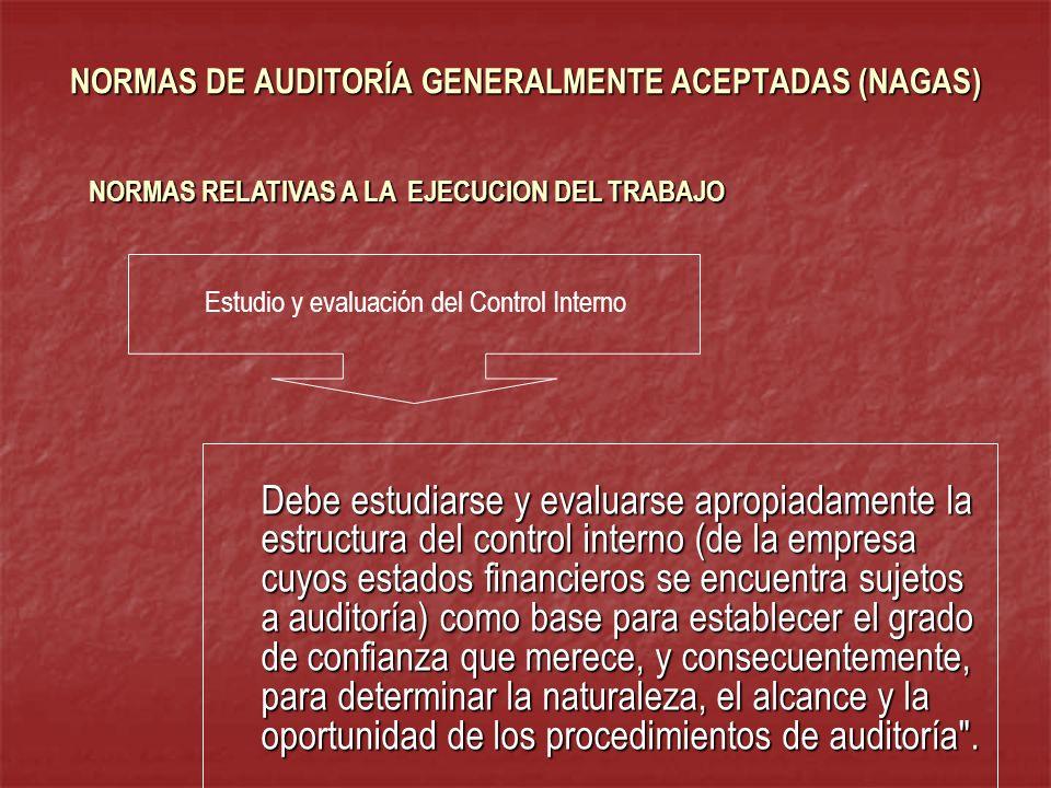 NORMAS DE AUDITORÍA GENERALMENTE ACEPTADAS (NAGAS) Debe estudiarse y evaluarse apropiadamente la estructura del control interno (de la empresa cuyos e