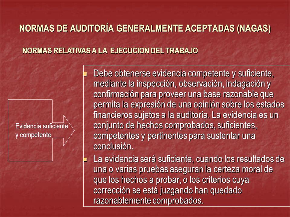 NORMAS DE AUDITORÍA GENERALMENTE ACEPTADAS (NAGAS) Debe obtenerse evidencia competente y suficiente, mediante la inspección, observación, indagación y
