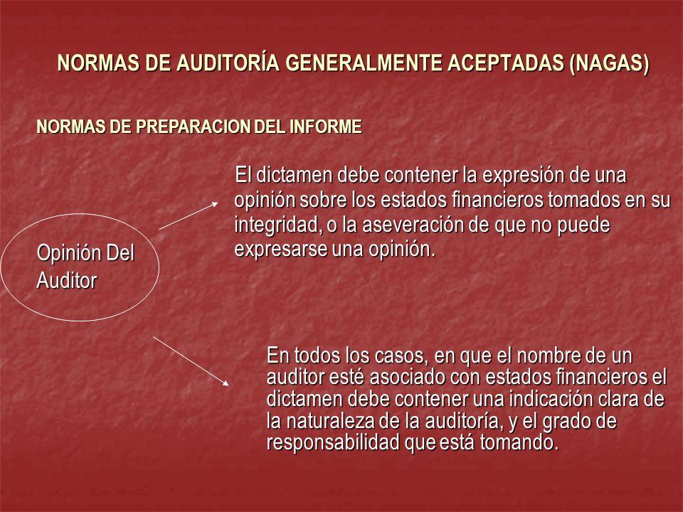 En todos los casos, en que el nombre de un auditor esté asociado con estados financieros el dictamen debe contener una indicación clara de la naturale