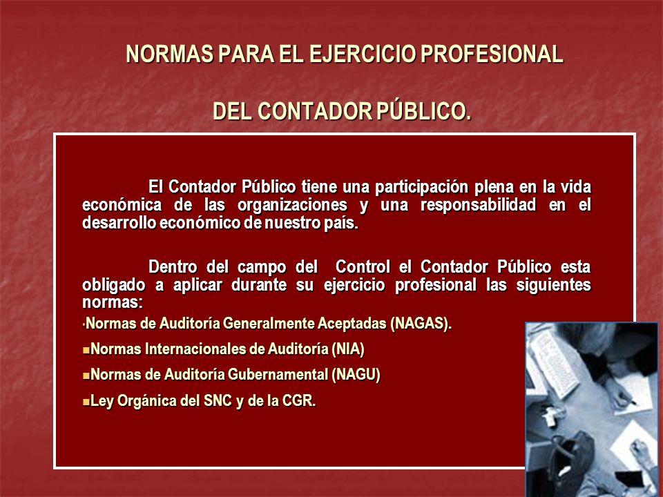 NORMAS PARA EL EJERCICIO PROFESIONAL DEL CONTADOR PÚBLICO. NORMAS PARA EL EJERCICIO PROFESIONAL DEL CONTADOR PÚBLICO. El Contador Público tiene una pa
