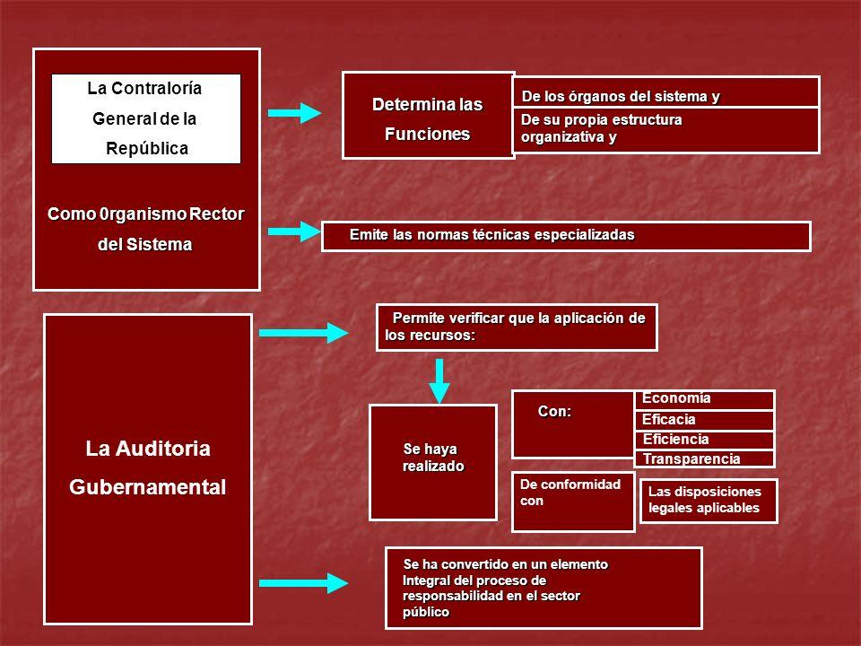 Como 0rganismo Rector del Sistema La Contraloría General de la República Determina las Funciones Emite las normas técnicas especializadas De los órgan