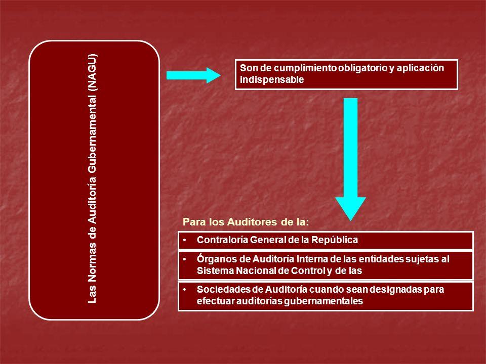 Las Normas de Auditoría Gubernamental (NAGU) Contraloría General de la República Órganos de Auditoría Interna de las entidades sujetas al Sistema Naci