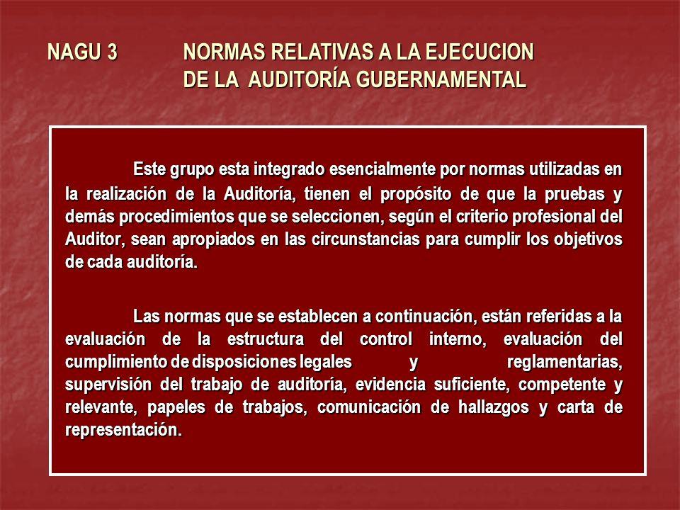 NAGU 3 NORMAS RELATIVAS A LA EJECUCION DE LA AUDITORÍA GUBERNAMENTAL Este grupo esta integrado esencialmente por normas utilizadas en la realización d