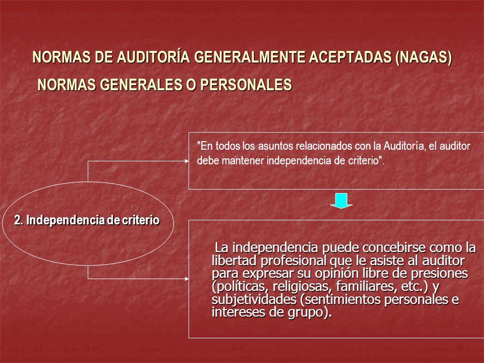NORMAS DE AUDITORÍA GENERALMENTE ACEPTADAS (NAGAS) La independencia puede concebirse como la libertad profesional que le asiste al auditor para expres