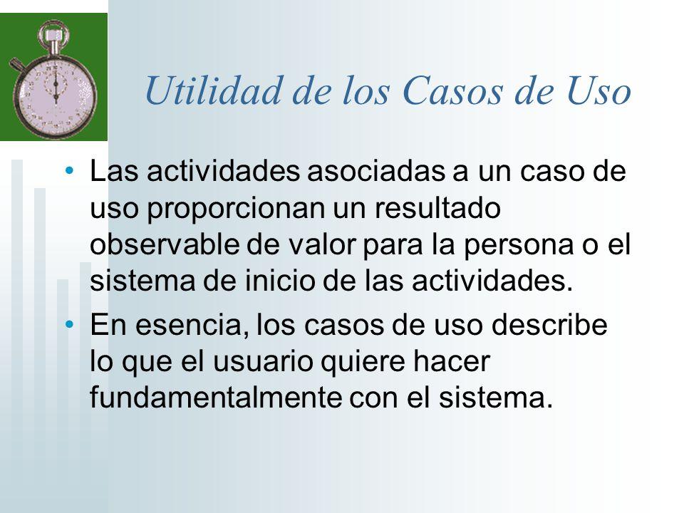 Utilidad de los Casos de Uso Las actividades asociadas a un caso de uso proporcionan un resultado observable de valor para la persona o el sistema de