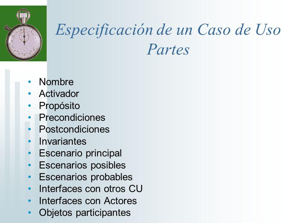 Especificación de un Caso de Uso Partes Nombre Activador Propósito Precondiciones Postcondiciones Invariantes Escenario principal Escenarios posibles