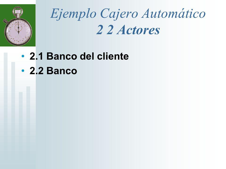 Ejemplo Cajero Automático 2 2 Actores 2.1 Banco del cliente 2.2 Banco