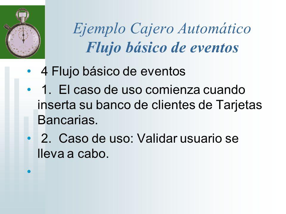 Ejemplo Cajero Automático Flujo básico de eventos 4 Flujo básico de eventos 1. El caso de uso comienza cuando inserta su banco de clientes de Tarjetas