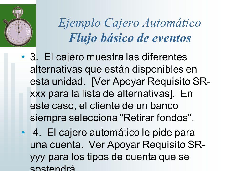 Ejemplo Cajero Automático Flujo básico de eventos 3. El cajero muestra las diferentes alternativas que están disponibles en esta unidad. [Ver Apoyar R