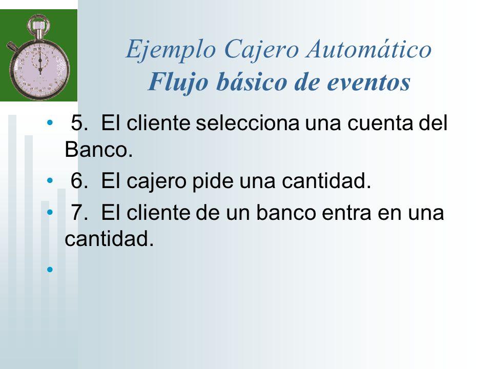 Ejemplo Cajero Automático Flujo básico de eventos 5. El cliente selecciona una cuenta del Banco. 6. El cajero pide una cantidad. 7. El cliente de un b