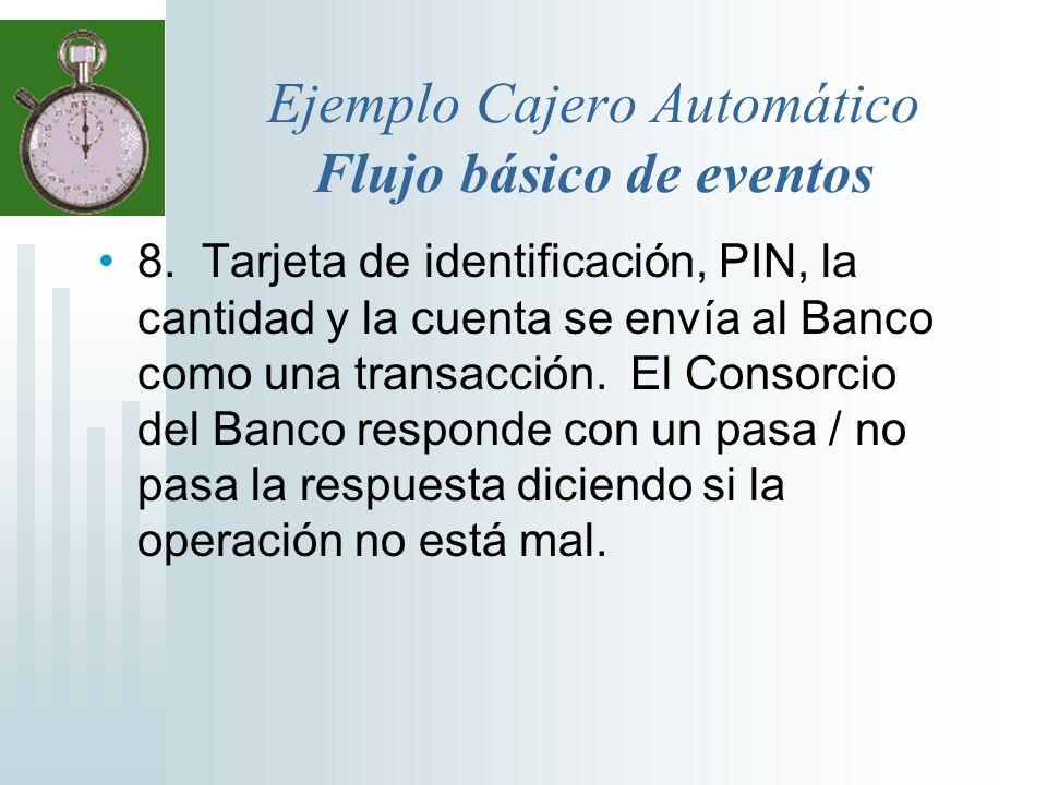 Ejemplo Cajero Automático Flujo básico de eventos 8. Tarjeta de identificación, PIN, la cantidad y la cuenta se envía al Banco como una transacción. E