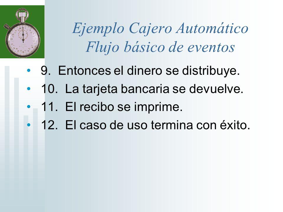 Ejemplo Cajero Automático Flujo básico de eventos 9. Entonces el dinero se distribuye. 10. La tarjeta bancaria se devuelve. 11. El recibo se imprime.