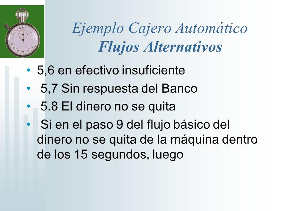 Ejemplo Cajero Automático Flujos Alternativos 5,6 en efectivo insuficiente 5,7 Sin respuesta del Banco 5.8 El dinero no se quita Si en el paso 9 del f