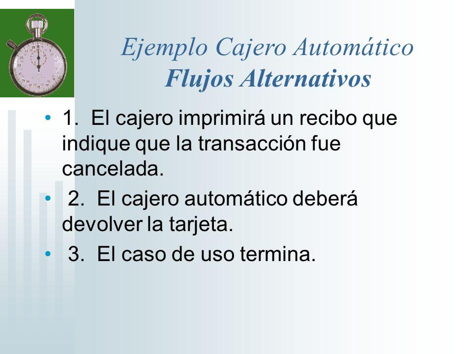1. El cajero imprimirá un recibo que indique que la transacción fue cancelada. 2. El cajero automático deberá devolver la tarjeta. 3. El caso de uso t
