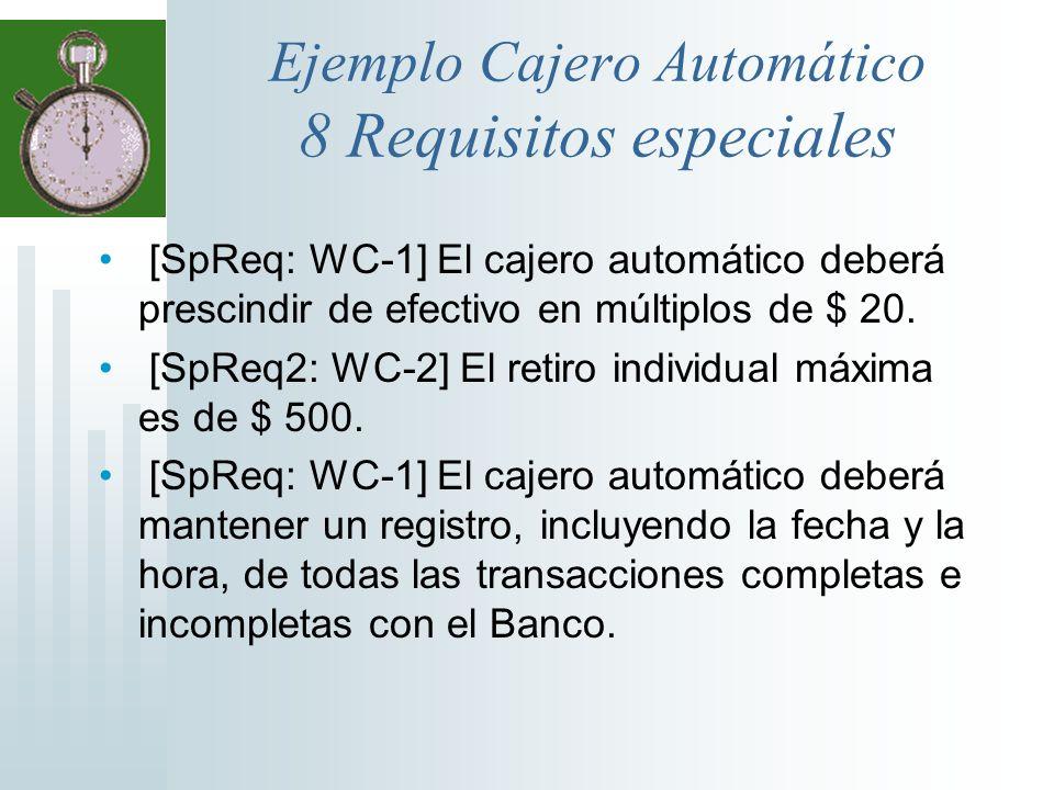 Ejemplo Cajero Automático 8 Requisitos especiales [SpReq: WC-1] El cajero automático deberá prescindir de efectivo en múltiplos de $ 20. [SpReq2: WC-2