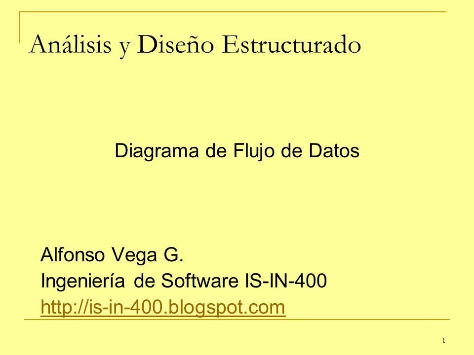 1 Análisis y Diseño Estructurado Diagrama de Flujo de Datos Alfonso Vega G. Ingeniería de Software IS-IN-400 http://is-in-400.blogspot.com
