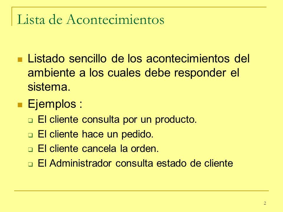 2 Lista de Acontecimientos Listado sencillo de los acontecimientos del ambiente a los cuales debe responder el sistema. Ejemplos : El cliente consulta