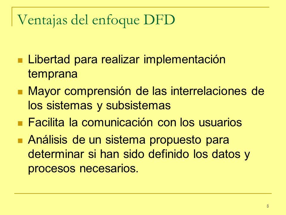 8 Ventajas del enfoque DFD Libertad para realizar implementación temprana Mayor comprensión de las interrelaciones de los sistemas y subsistemas Facil