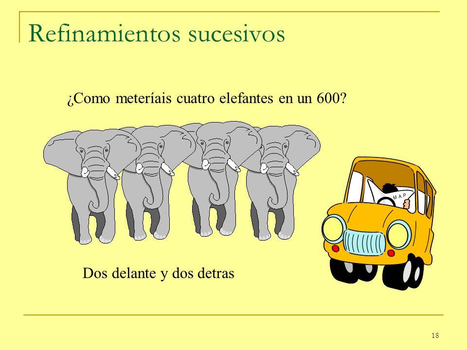 18 Refinamientos sucesivos ¿Como meteríais cuatro elefantes en un 600? Dos delante y dos detras